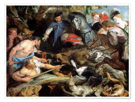 Póster Premium  Hunting a Wild Boar - Peter Paul Rubens