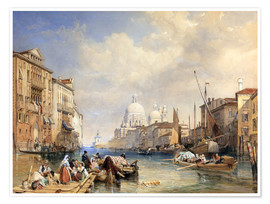 Póster Premium  The Grand Canal, Venice, 1835 - James Duffield Harding