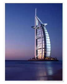 Póster Premium  The Burj Al-Arab at dusk - Ian Cuming