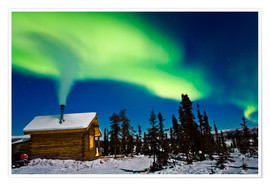 Póster Premium  Northern Lights over a hut - Kevin Smith