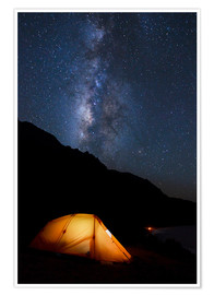 Póster Premium Tent and starry sky