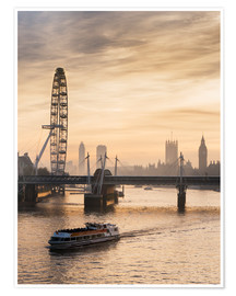 Póster Premium  Millenium Wheel with Big Ben, London, England - Charles Bowman