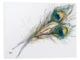 Quadro em PVC  Watercolor of two peacock feathers - Tara Thelen