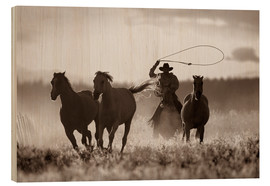 Quadro de madeira  Cowboy of the horses catches - Richard Wear