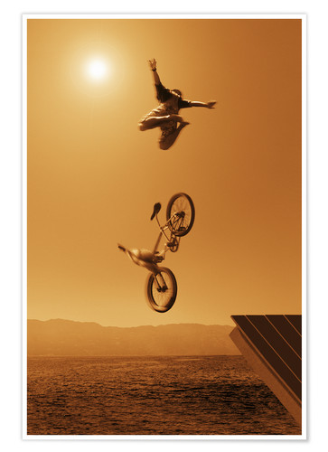 Póster Premium Stunt jump into the water
