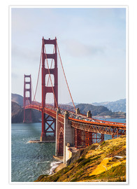 Póster Premium  Golden Gate Bridge in San Francisco - Leah Bignell