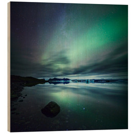 Quadro de madeira  Northern Lights over Jokulsarlon - Matteo Colombo