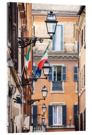Quadro em acrílico  Street in the centre of old town with italian flags, Rome, Italy - Matteo Colombo