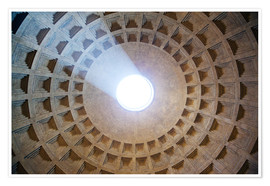 Póster Premium  Ceiling of the Pantheon temple, Rome - Matteo Colombo