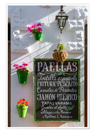 Póster Premium  Typical whitewashed ornate wall and paella sign, Andalusia Spain - Matteo Colombo