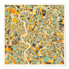 Póster Premium  Rome Map - Jazzberry Blue