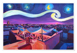 Póster Premium  Starry Night in Marrakech   Van Gogh Inspirations on Fna Market Place in Morocco - M. Bleichner