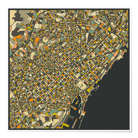 Póster Premium  Barcelona map - Jazzberry Blue