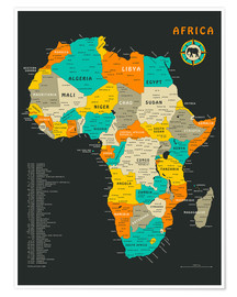 Póster Premium  Africa Map - Jazzberry Blue