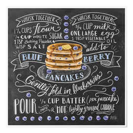 Póster Premium Blueberry pancakes recipe