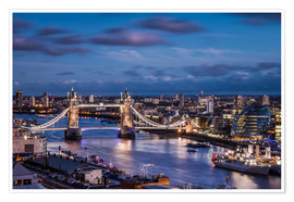 Póster Premium  Tower Bridge London Thames - Sören Bartosch