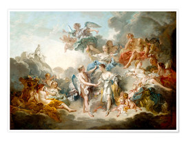 Póster Premium  Cupid and Psyche celebrate wedding - François Boucher