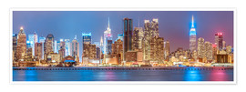 Póster Premium  New York City Neon Colors Skyline - Sascha Kilmer