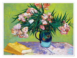 Póster Premium Majolica Jar with Branches of Oleander