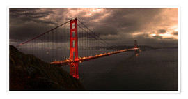 Póster Premium  Golden Gate mystical brown - Michael Rucker