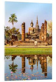 Quadro em acrílico  Wat Mahathat buddhist temple reflected in pond, Sukhothai, Thailand - Matteo Colombo