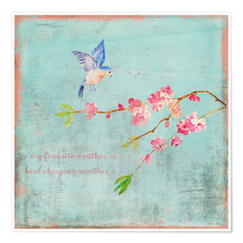 Póster Premium Bird chirping - Spring and cherry blossoms