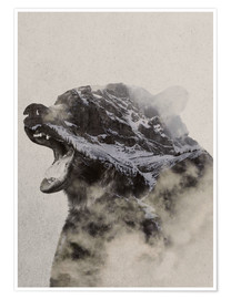 Póster Premium  Bear In The fog - Andreas Lie