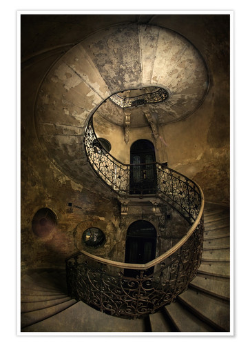 Póster Premium Old spiral staircase