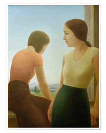 Póster Premium Two girls at the window