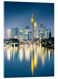 Quadro em acrílico  Frankfurt skyline reflected in river Main at night, Germany - Matteo Colombo