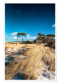 Póster Premium Dunes and Lighthouse at the Baltic Sea