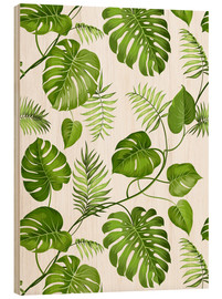 Quadro de madeira  Monstera and palms