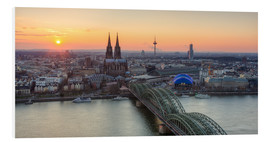 Quadro em PVC  Panorama view of Cologne at sunset - Michael Valjak