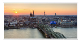Póster Premium Panorama view of Cologne at sunset