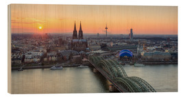 Quadro de madeira  Panorama view of Cologne at sunset - Michael Valjak