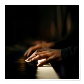 Póster Premium  Close-up of a pianist's hands playing the piano - Johan Swanepoel