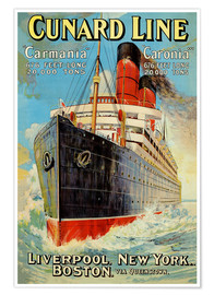 Póster Premium Cunard Line - Liverpool, New York, Boston