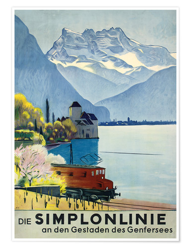 Póster Premium Simplon line - train ride around Lake Geneva.