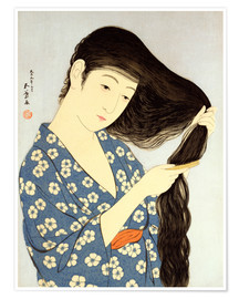 Póster Premium Young woman combing her hair