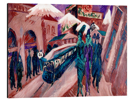 Quadro em alumínio  Leipziger Strasse with electric train - Ernst Ludwig Kirchner