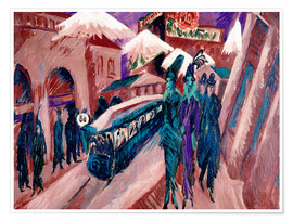 Póster Premium  Leipziger Strasse with electric train - Ernst Ludwig Kirchner