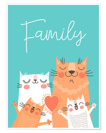Póster Premium  Family cats - Kidz Collection