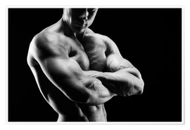 Póster Premium  Bodybuilder with arms crossed