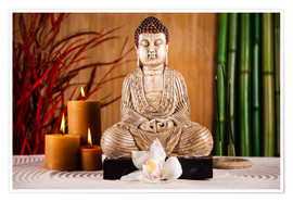 Póster Premium Buddha with candle