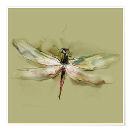 Póster Premium  Dragonfly in watercolor