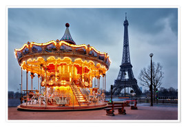 Póster Premium  Carousel at the Eiffel Tower