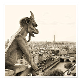 Póster Premium  Gargoyle of Notre Dame over Paris