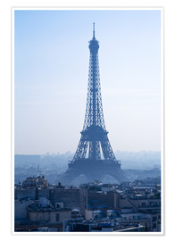 Póster Premium Eiffel Tower on blue spring morning