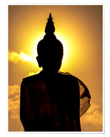 Póster Premium  Silhouette of Buddha in the temple
