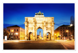 Póster Premium  Victory Arch in Munich at night